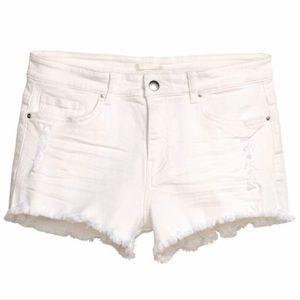 White Denim Cut Off Shorts